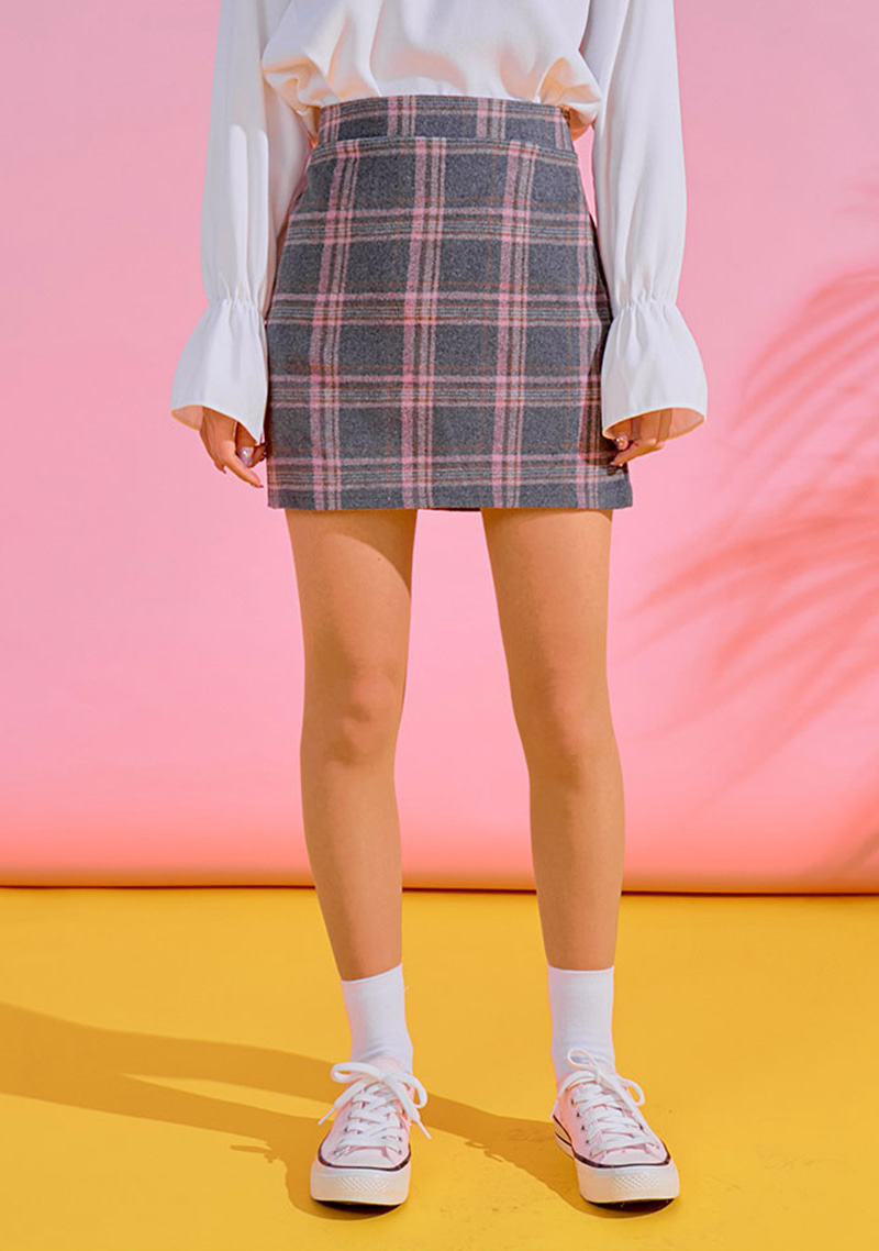 [CHUU] クリーミーチェックミニスカート