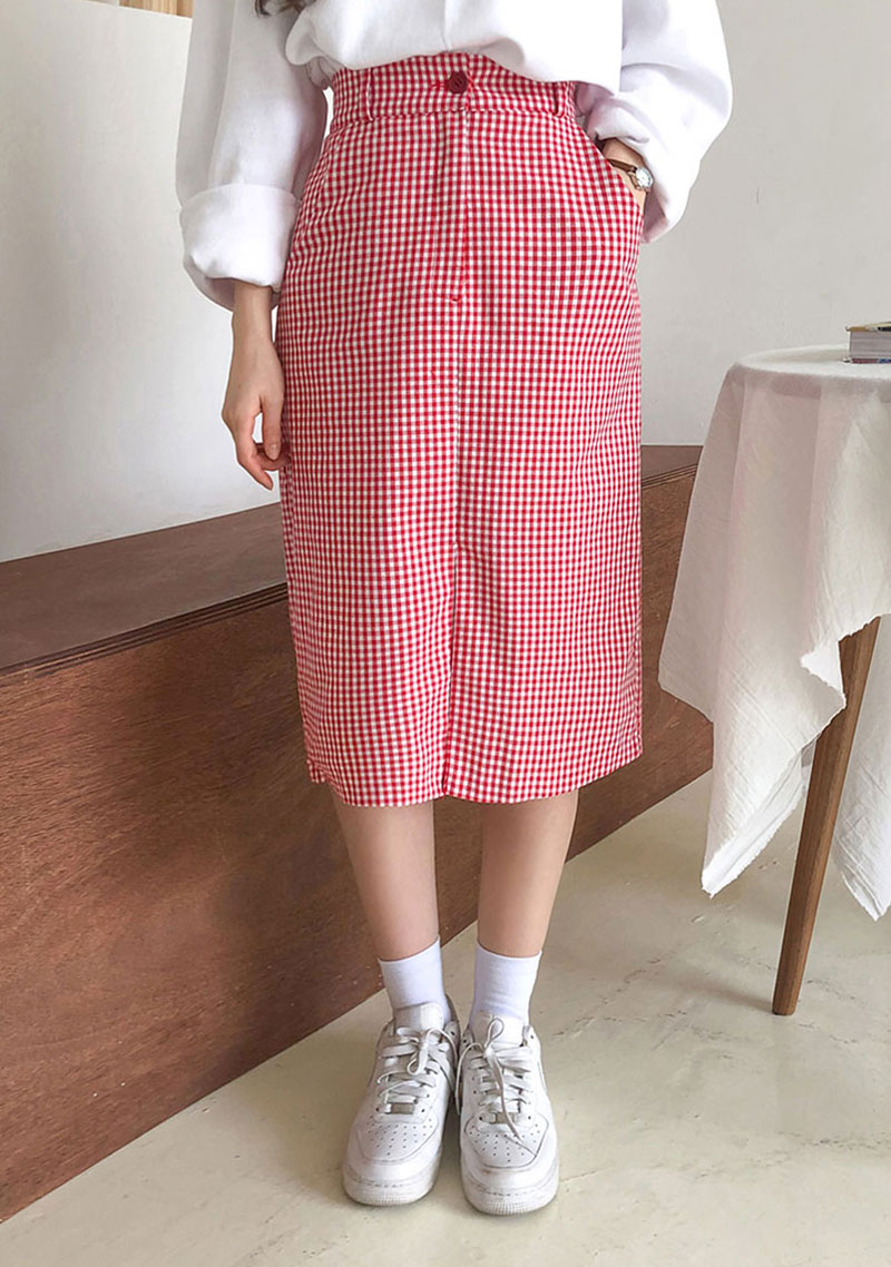 [CHUU] フロントスリットギンガムチェックミディスカート